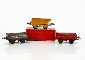 Hornby 0 Gauge 'own-branded' Wagons, No 1 Coal Wagons in 'Meccano' red with gold lettering and
