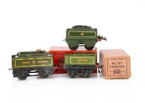 Hornby 0 Gauge Spare Tenders and box, an early Paris-made green 'coal rail' tender no 2710, F,