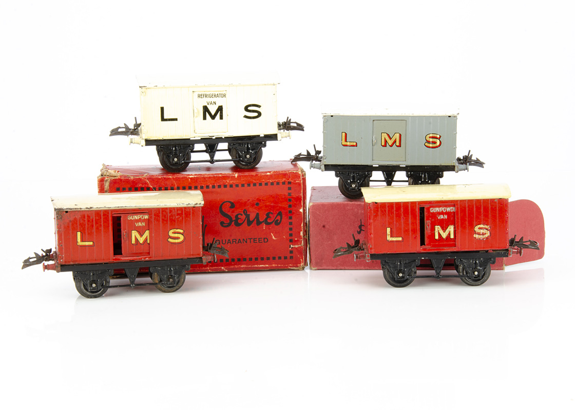 Hornby 0 Gauge LMS No 1 Gunpowder and other Vans, two red Gunpowder vans on T3 bases, both with