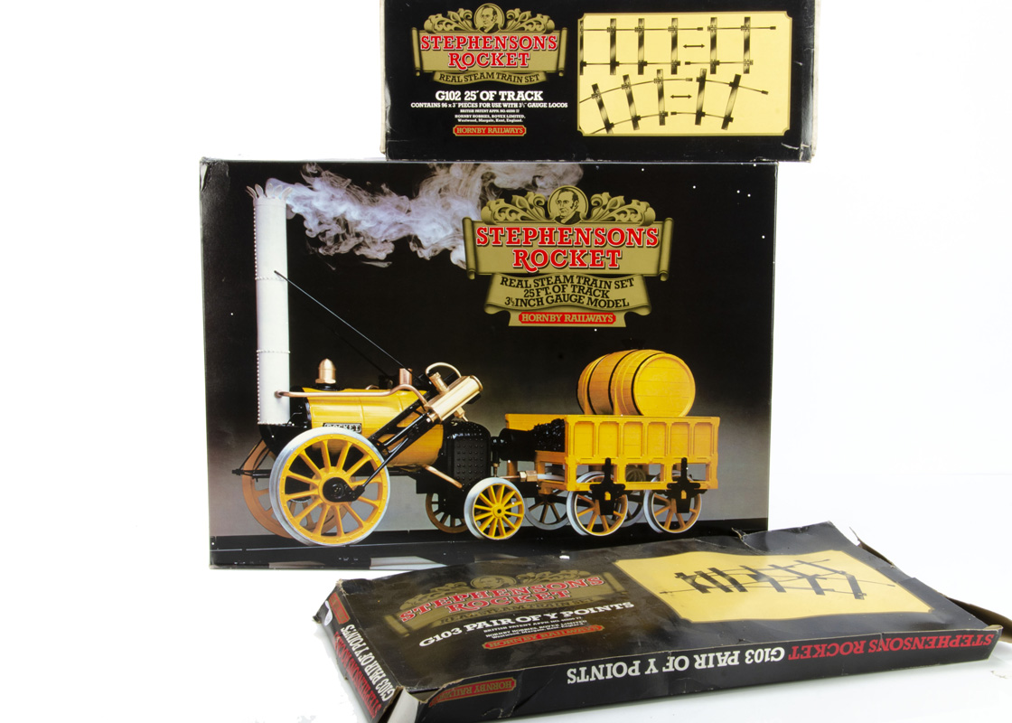 """A boxed Hornby 3½"""" Gauge live steam Stephenson's 'Rocket' Locomotive Set and additional track, the"""