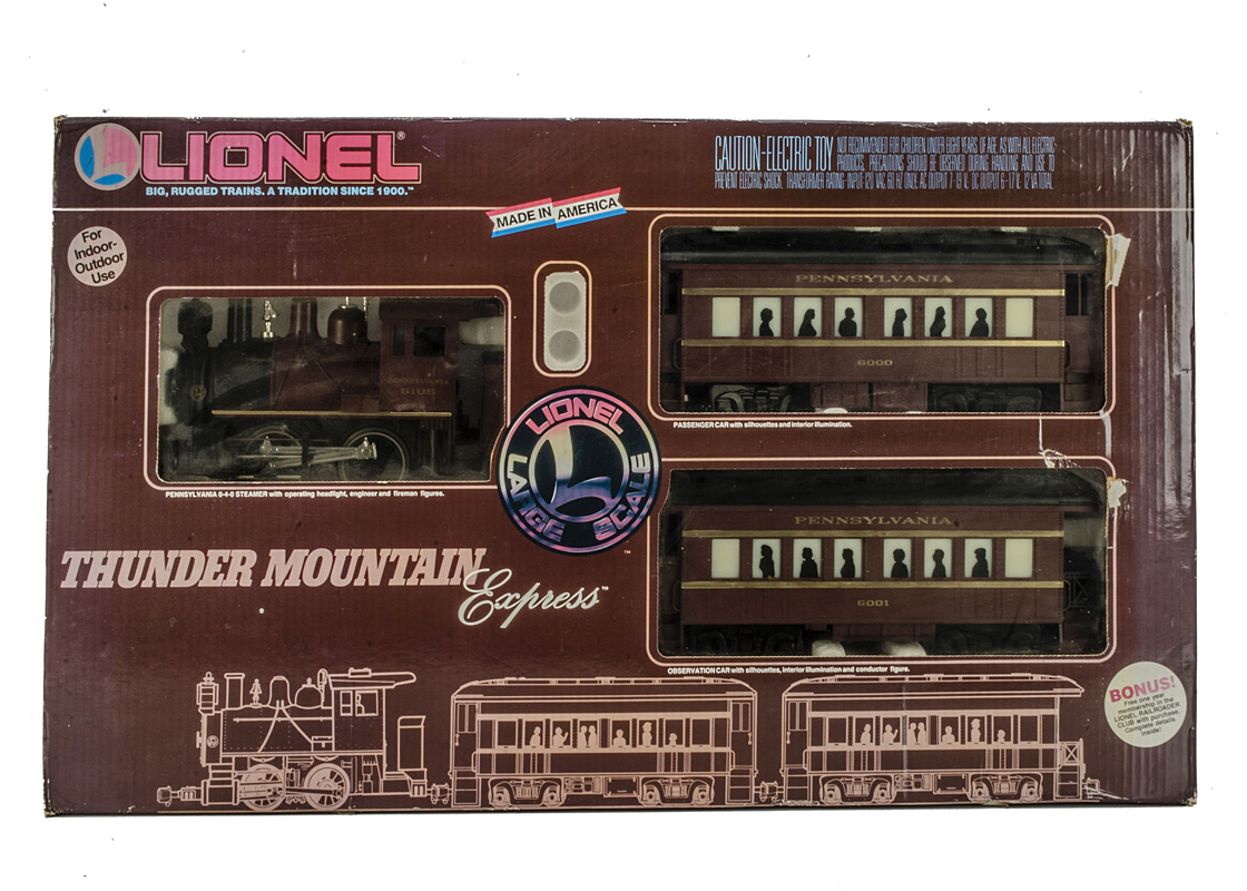 Lionel Large Scale G Gauge Thunder Mountain Express Train Set, comprising Pennsylvania maroon 0-4-