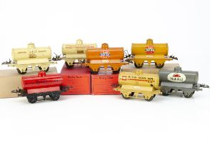 Pre- and Post-war Hornby 0 Gauge Tank Wagons, all on T3 bases, comprising cream 'Motor BP Spirit' (