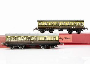 Two Hornby 0 Gauge No 2 Passenger Coaches, both in lithographed GWR brown/cream as brake/3rd no