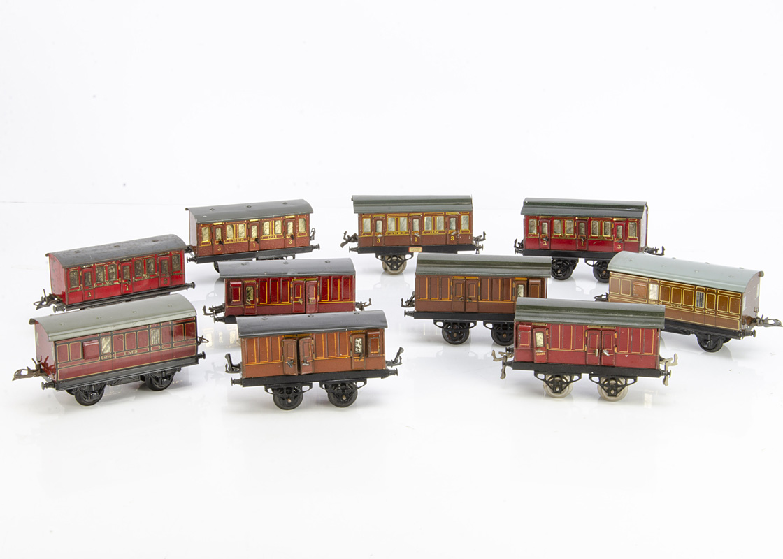 Early and later Hornby 0 Gauge No 1 LMS and LNER Coaching Stock, all in lithographed LMS crimson