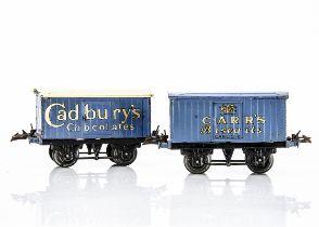 Hornby 0 Gauge Private Owner Vans, both on black T3 bases, one Cadbury's Chocolates van in blue with