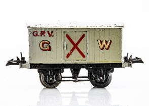 A Hornby 0 Gauge GWR Gunpowder Van, on black T3 base with axlebox slots, the body in light grey with