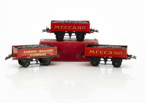 Hornby 0 Gauge No 1 Coal Wagons, two in 'Meccano' red, both with a little well-matched retouching,