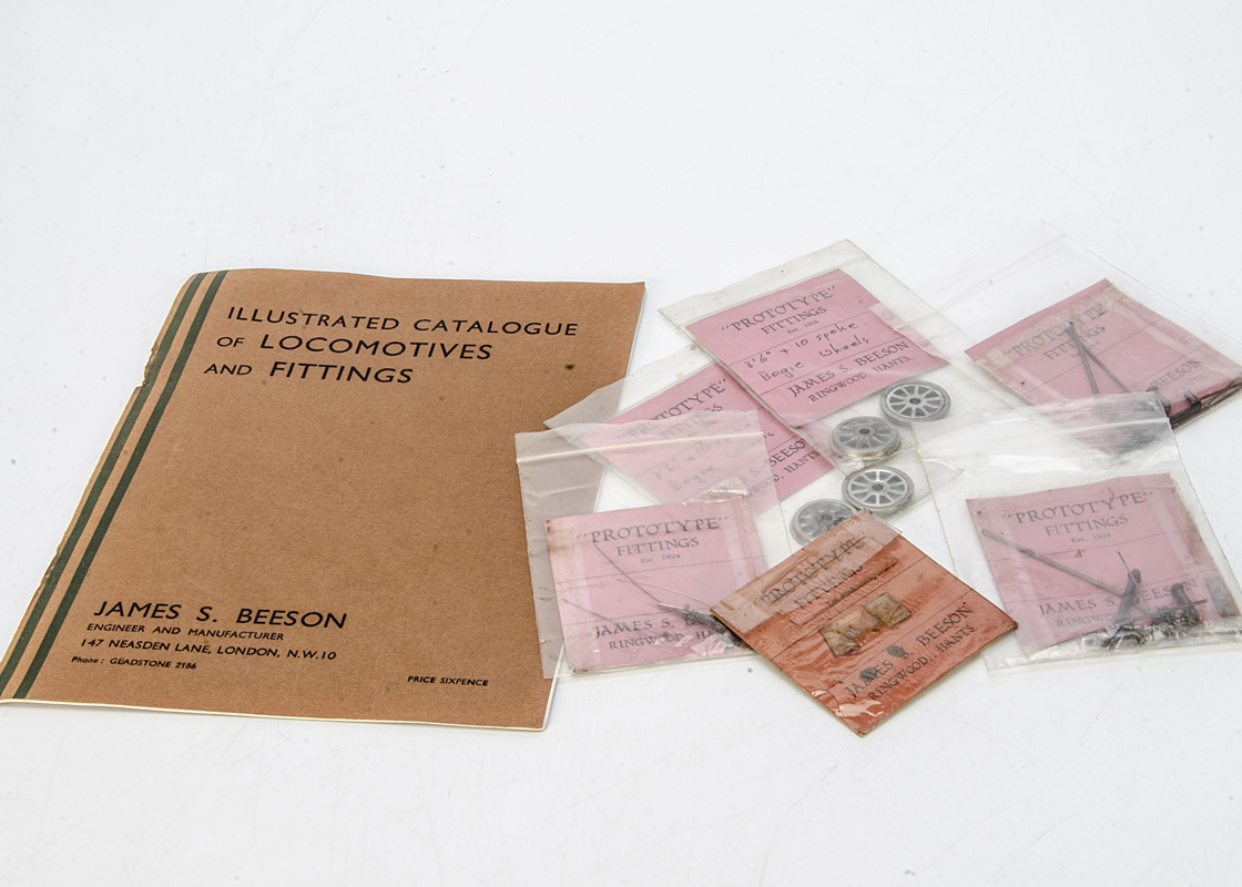 A small selection of 0 Gauge Locomotive Fittings and Catalogue by J S Beeson, components in original