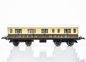 A Middleton (Australia) Hornby-style 0 Gauge GWR Ocean Mails Van, in lithographed GWR brown/cream as