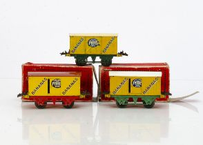 Hornby 0 Gauge 'Fyffes' Banana Vans, all with yellow bodies and T3 bases, one with red base and