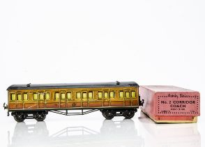 A Hornby 0 Gauge Metropolitan Railway 1st class Coach, in lithographed 'Met' finish, with interior