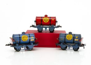 Hornby 0 Gauge 'Colas' Super-tanker wagons, two in all-blue livery with screwed stays, both G,