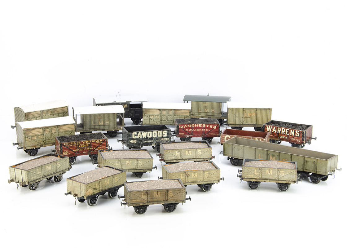 Leeds Model Co/Stedman 0 Gauge Paper-covered Freight Stock, including bogie LMS High Capacity wagon,