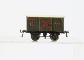 A uncommon Hornby 0 Gauge circa 1930 GWR Gunpowder Van, on black T3 base with axlebox slots and