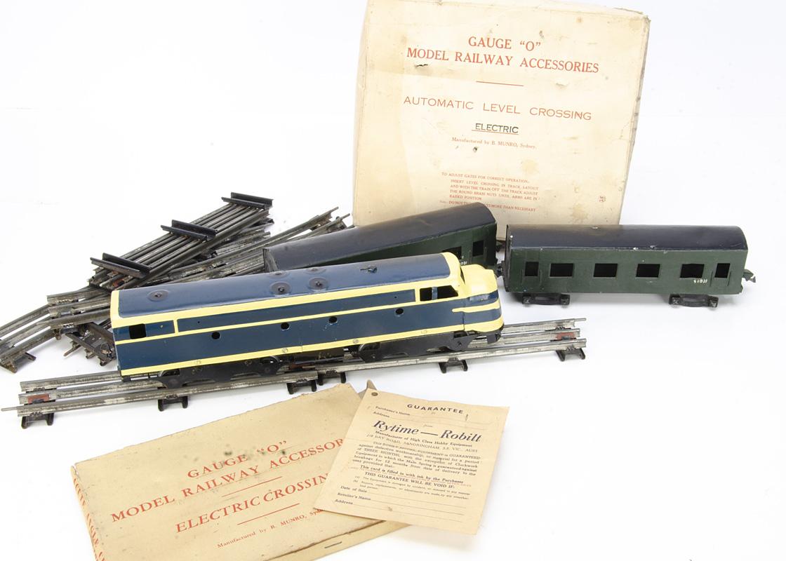 A repainted Robilt (Australian) or similar 0 Gauge 3-rail Diesel Locomotive Stock and track, the