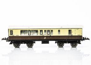 A Hornby 0 Gauge No 2 Corridor Coach, in lithographed GWR brown/cream as brake/3rd no 4073, G-VG,