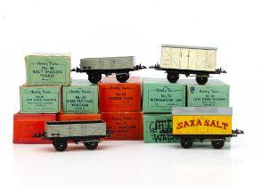 Hornby 0 Gauge post-war No 50 Freight Stock, comprising 5 'Saxa Salt' wagons, 2 Cattle Trucks, 2