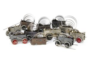 An assortment of Hornby 0 Gauge Clockwork Mechanisms, including an early No 2 motor fitted for '