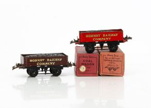 Hornby 0 Gauge 'own-branded' Wagons, No 1 Coal Wagons in 'Meccano' red and 'Hornby Railway