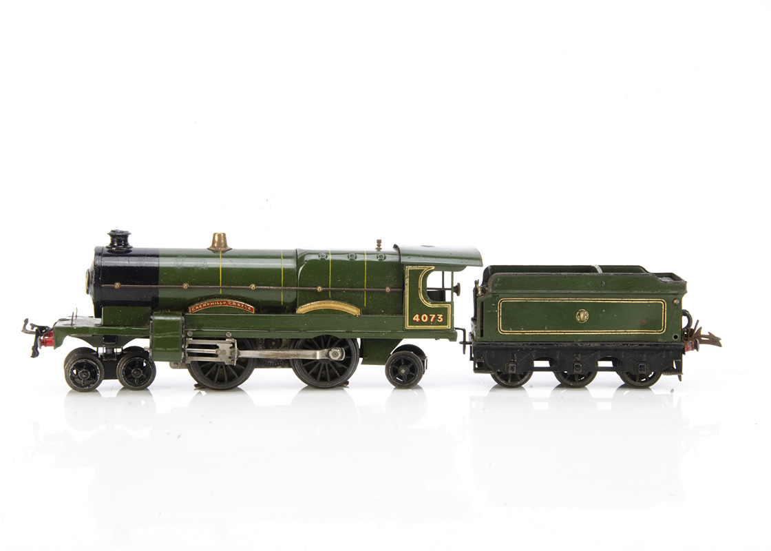 A Hornby 0 Gauge No E36 'Caerphilly Castle' Locomotive and later Tender, the locomotive with early