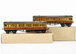 Two Hornby 0 Gauge Metropolitan Railway Coaches, both in lithographed 'Met' finish with large drop-