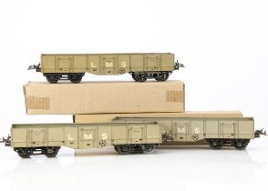 Hornby 0 Gauge LMS No 2 High Capacity Wagons, five, all in lithographed grey finish, all G-VG,