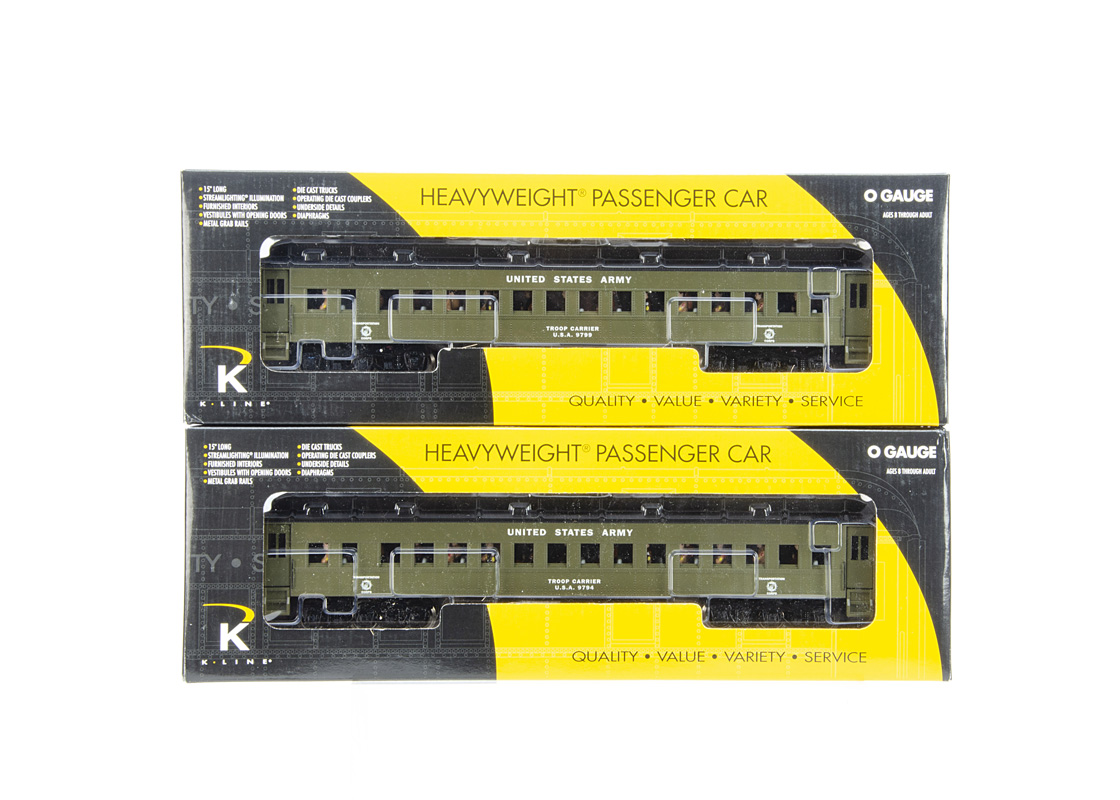 K-Line 0 Gauge US Army Troop Passenger Coaches, K4899-0008 No 9794 and K4899-0009 No 9799, both in