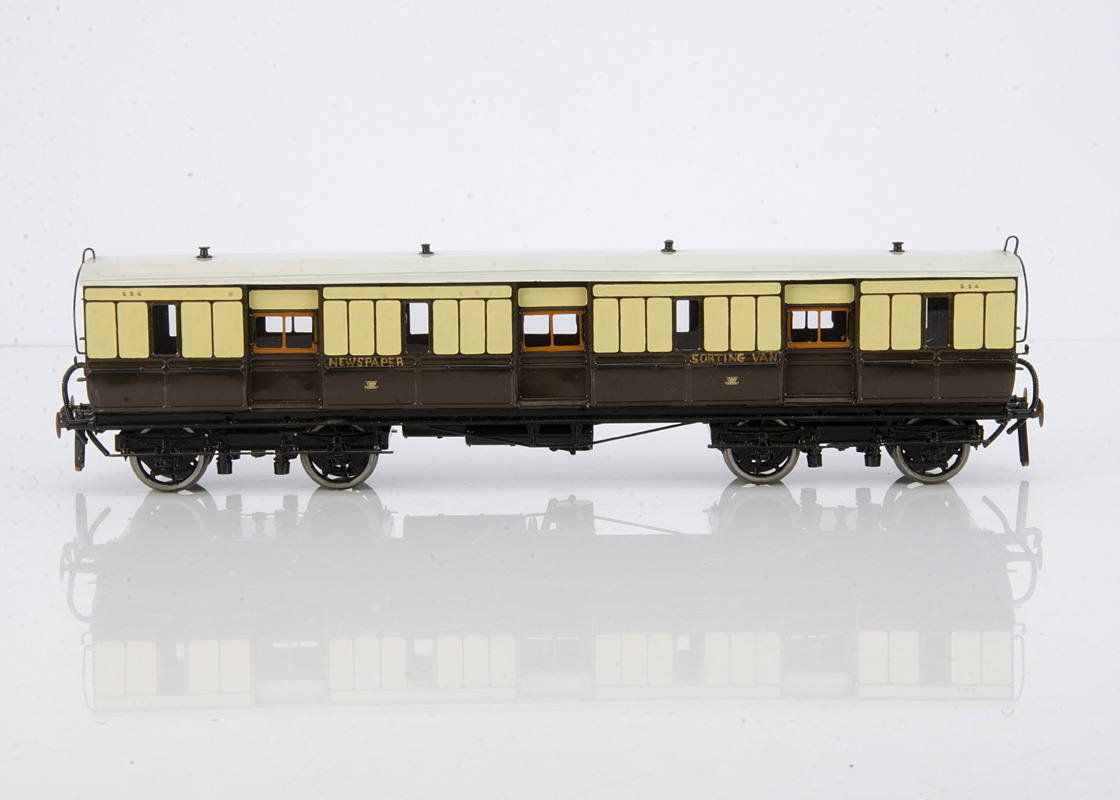 A Finescale 0 Gauge Kit-built GWR Newspaper Sorting Van from a Blacksmith Models kit, neatly
