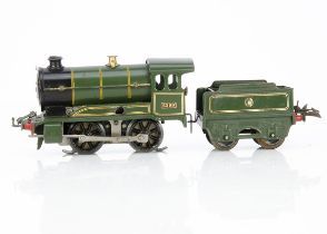 A converted Hornby 0 Gauge No O Locomotive and Tender, both in Great Western lined semi-matt