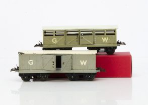 Hornby 0 Gauge Late pre-war GWR No 2 Freight Stock, grey cattle wagon and luggage van, both with
