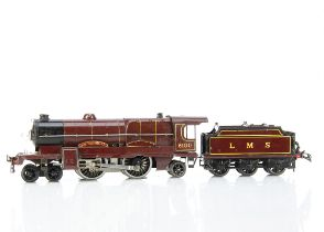 A Hornby 0 Gauge No E320 20-volt AC 'Royal Scot' Locomotive and Tender, both in LMS lined crimson,