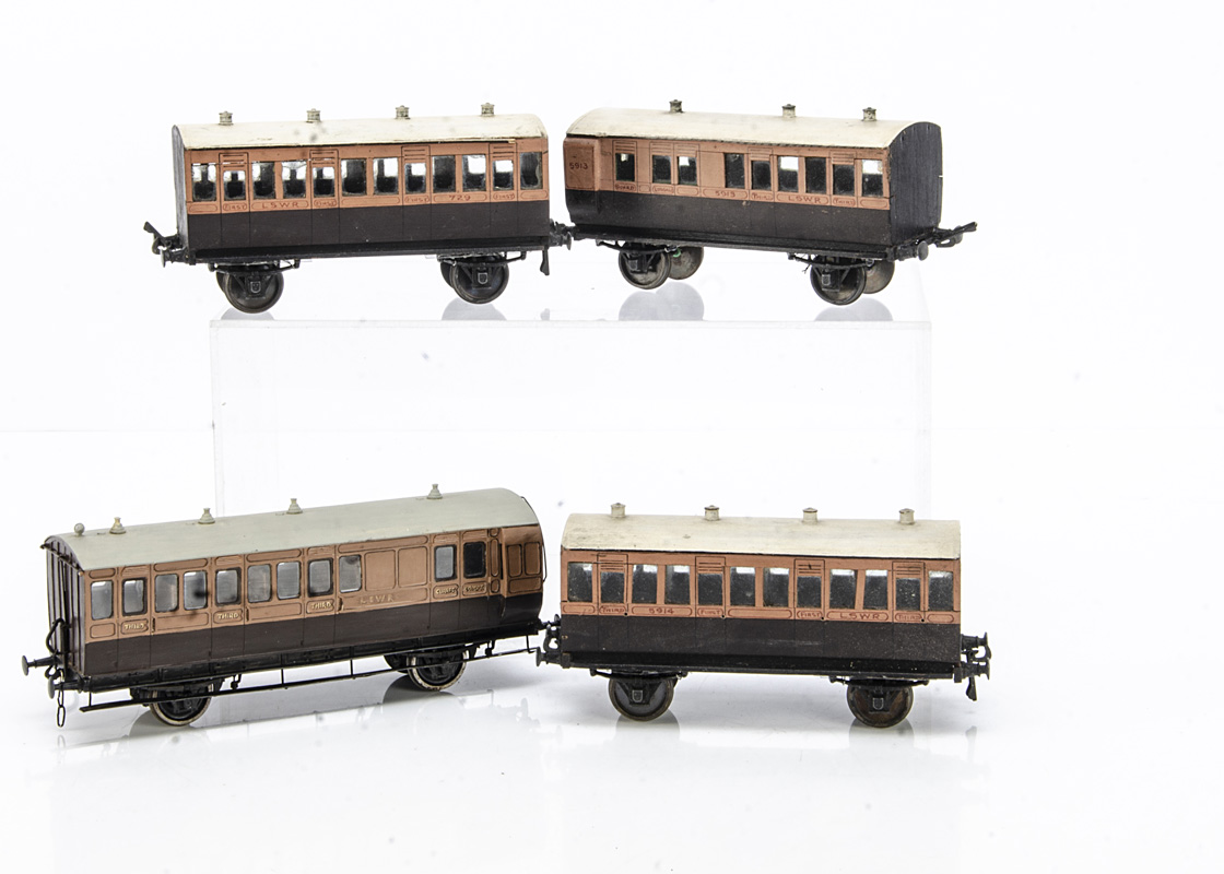 Vintage Finescale 0 Gauge LSWR 4-wheeled Coaching Stock, appear probably kit-built, three of