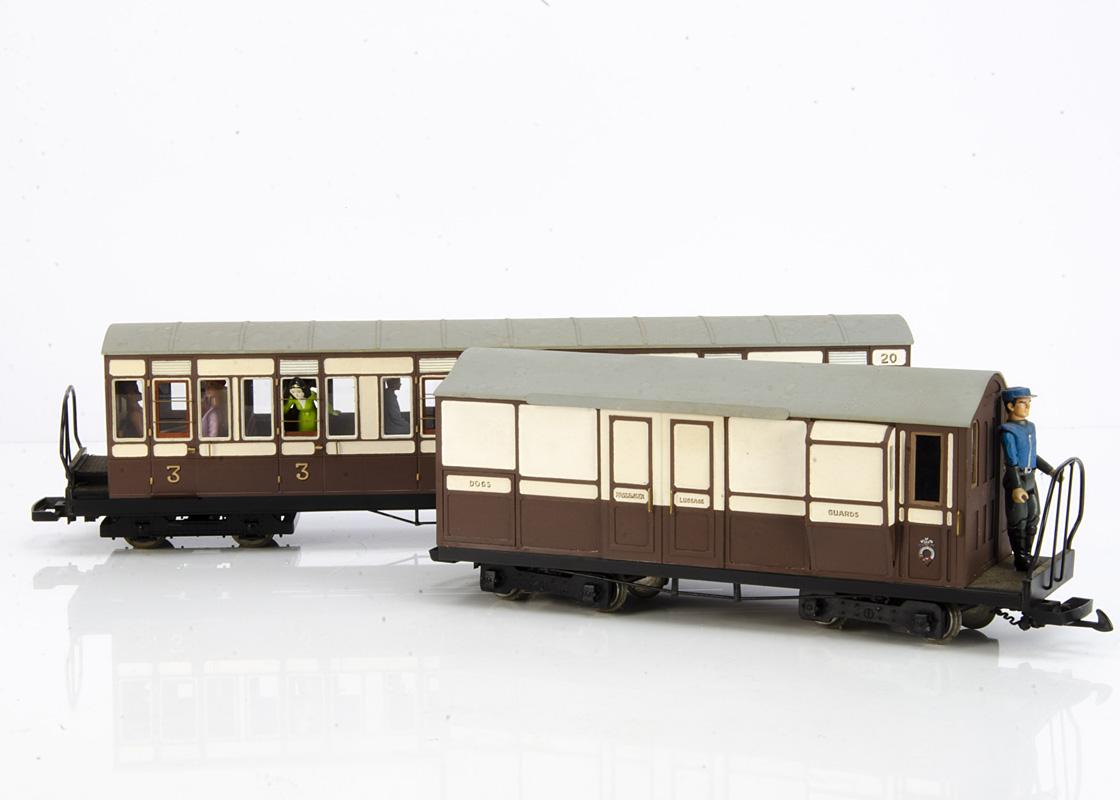 Rake of four Kit/Scratchbuilt G Gauge Ffestiniog Railway bogie Coaches and Luggage Van, all in brown