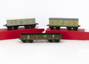 Hornby 0 Gauge pre-war GWR No 2 Freight Stock, grey/black cattle wagon with small gold lettering,