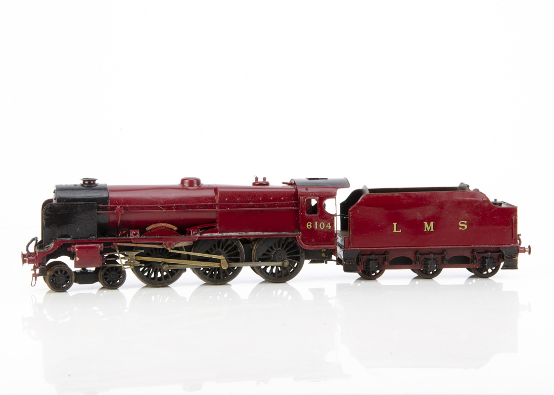 A 0 Gauge 3-rail LMS 'Royal Scot' 4-6-0 Locomotive and Tender, by unknown maker, the body probably