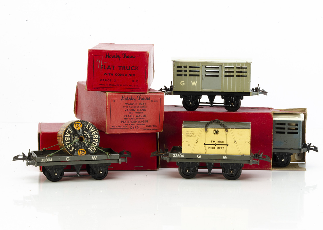 Late Pre-war and early Post-war Hornby 0 Gauge GWR Freight Stock, a circa 1940 light grey No 1