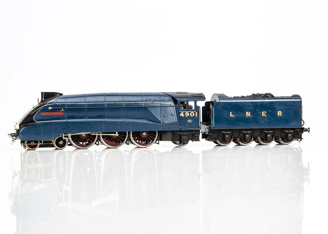 A Finescale 0 Gauge LNER A4 class Locomotive 'Capercaillie' and Tender from DJH kit, the nickel-