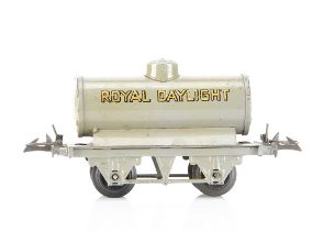 An original Hornby 0 Gauge grey 'Royal Daylight' tank wagon, on embossed trade-mark T3 base with