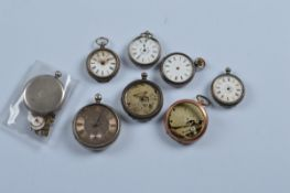 Eight assorted silver and white metal pocket and fob watches, All AF. Total weight 460g.