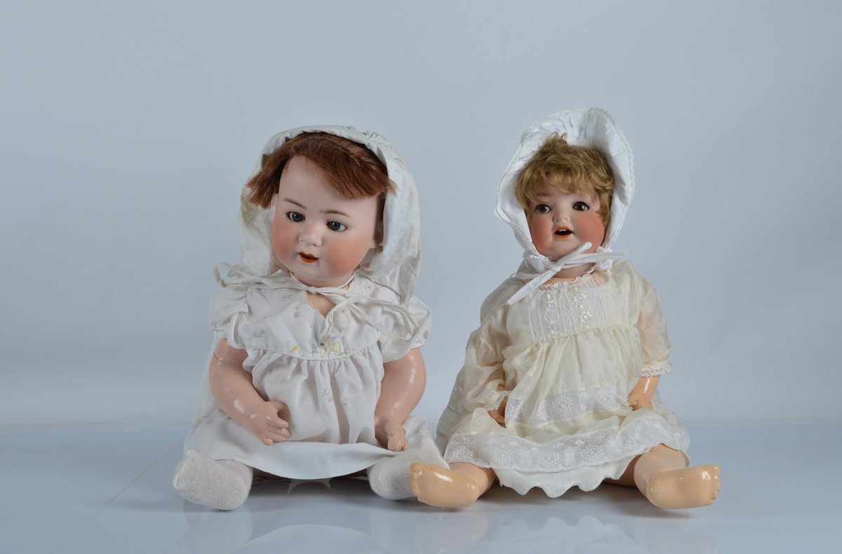 Two large Ernst Heubach character babies, a 342 with blonde mohair wig and cream dress, 20 1/2