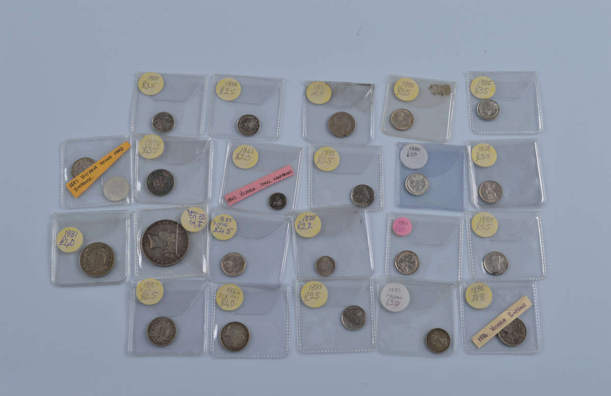 A collection of Victorian young head silver coinage, including 1844 Half Crown, 3d, sixpences etc (