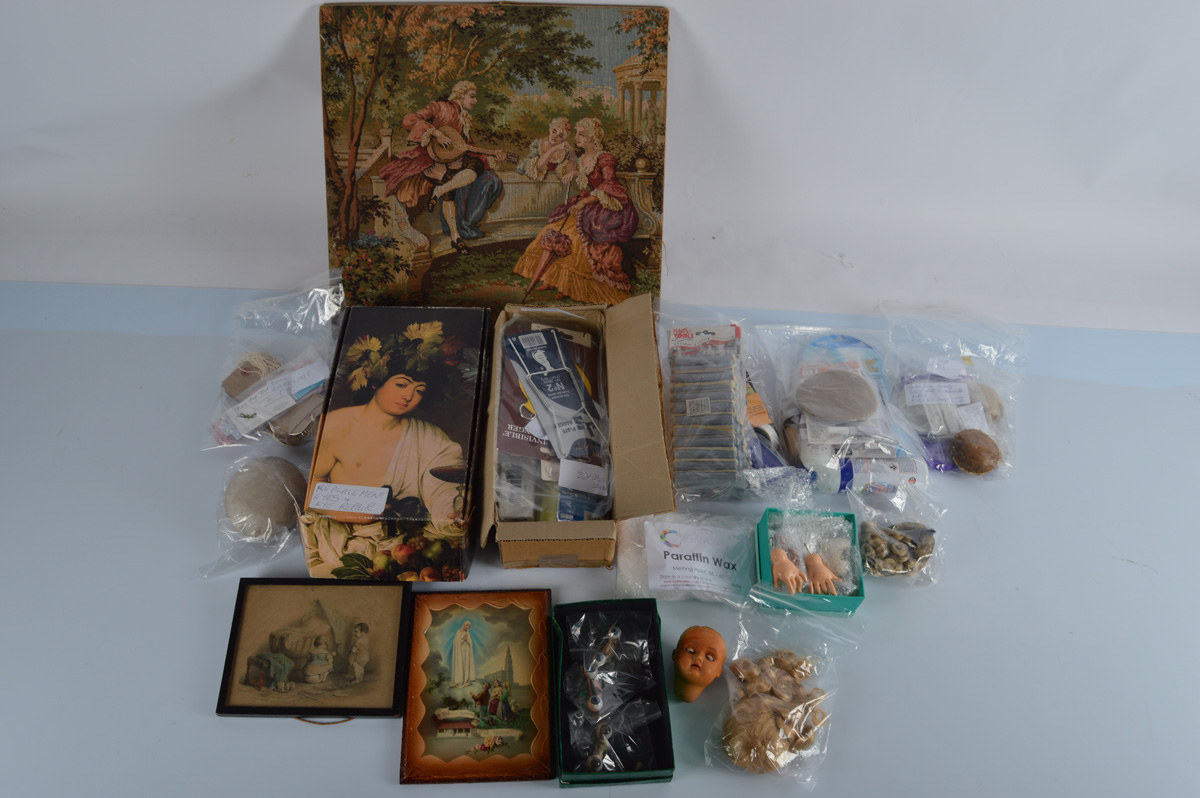 A quantity of doll making and repairing items, including hands, eyes, cotton reels, needles,