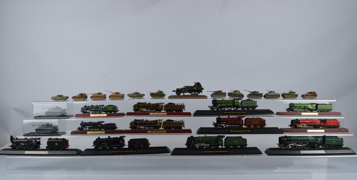 Twelve Corgi Fighting Machines series tank models, together with three static examples and twelve