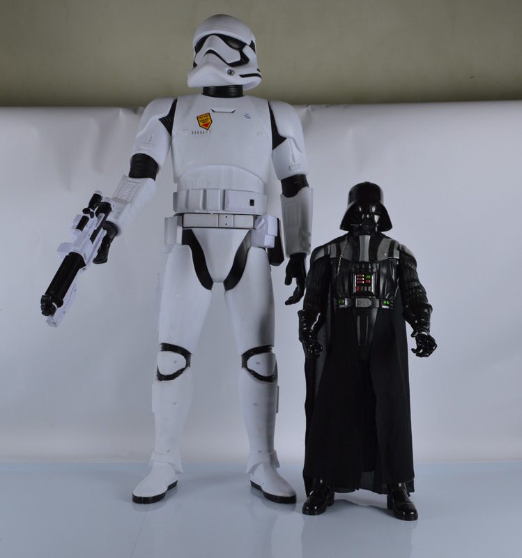 """A Star Wars Episode VII 48"""" Stormtrooper figure, together with a 32"""" Darth Vader figure, both by"""