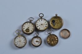 Six silver and white metal pocket and fob watches, All AF. 480g total weight.