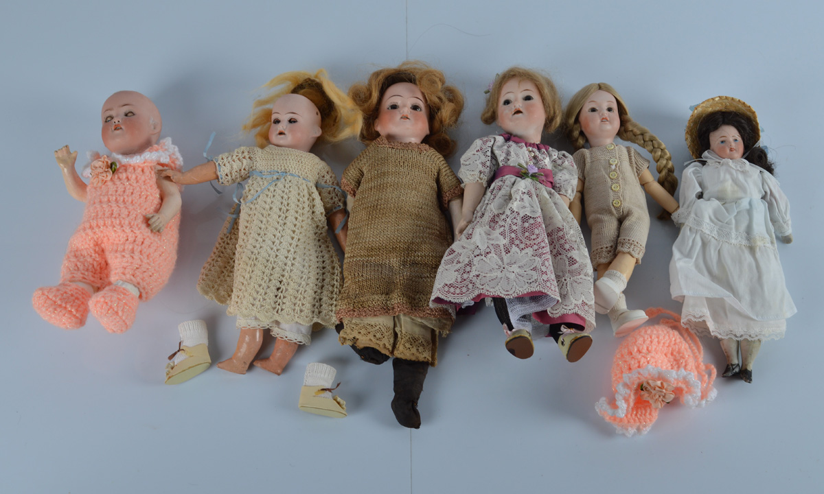 A collection of six German bisque head baby and child dolls, all of similar size, various makers
