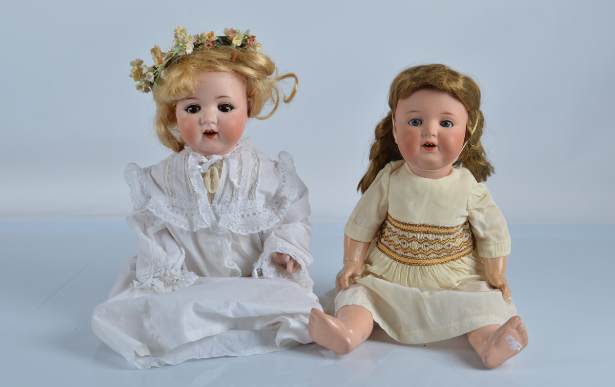 Two Armand Marseille babies, a 996 with blue sleeping eyes, blonde wig, toddler's composition body