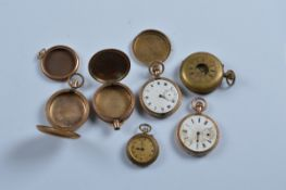 Four brass and gold plated pocket and fob watches, together with two empty cases (6)