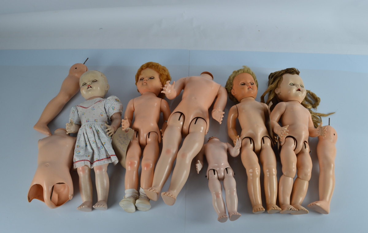 A collection of Pedigree hard plastic head child dolls, in various condition, some with associated