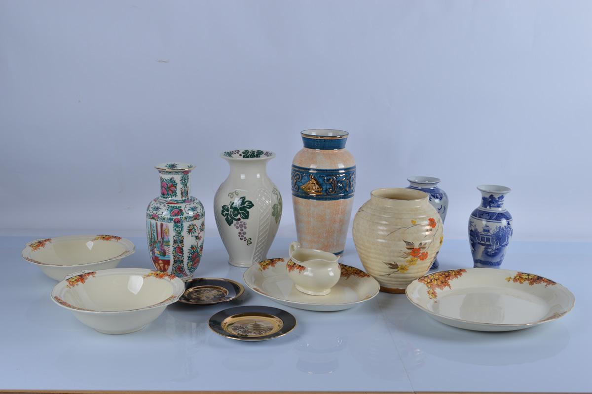 A good collection of ceramics, including a Kensington banded vase, Royal Winton Toscana vase,
